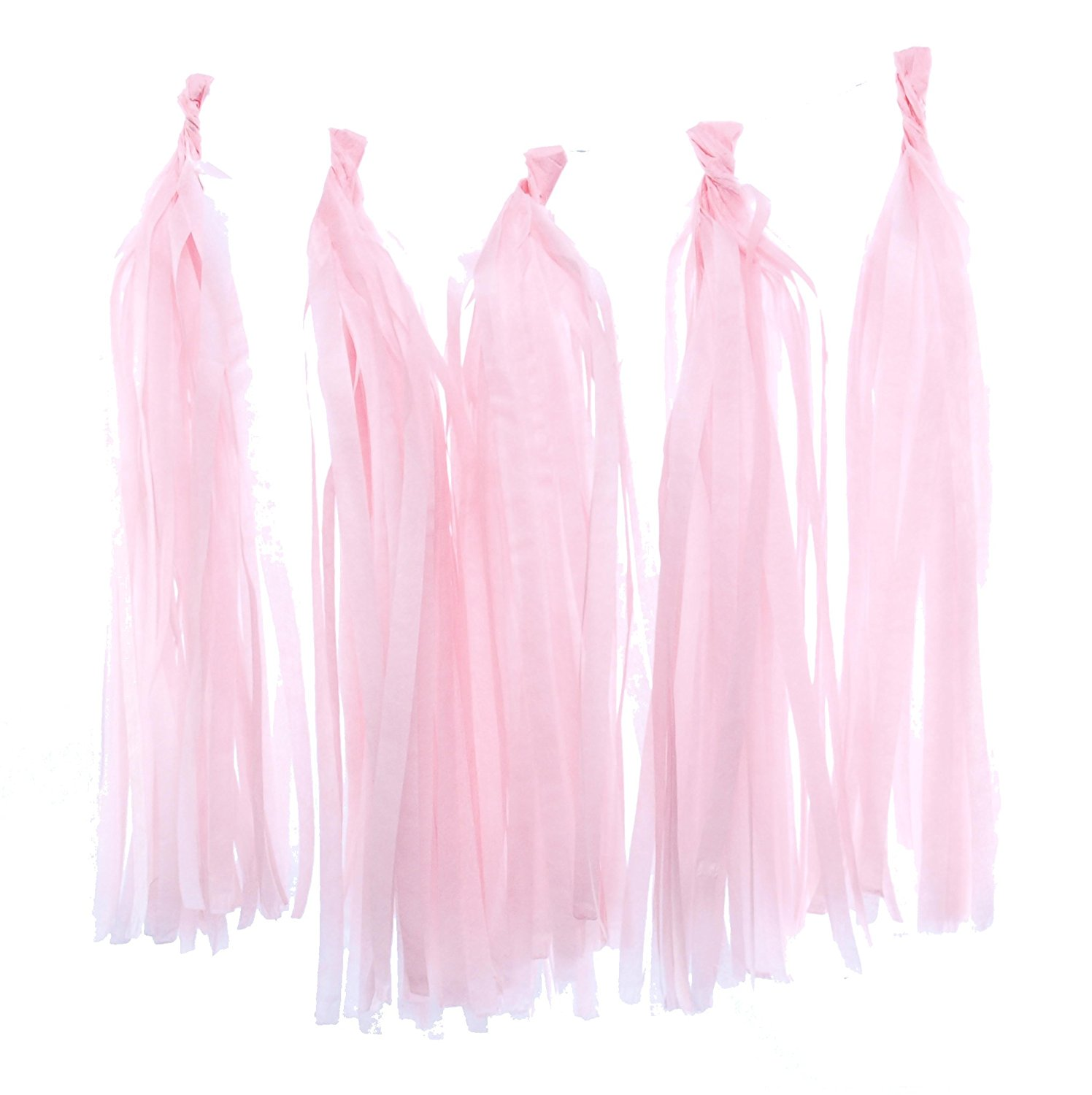 Tassel Garland, Light Pink Tissue Paper Tassels (Set of 5) - Pink Party Streamers, Wedding Decorations, Tassel Party Banners