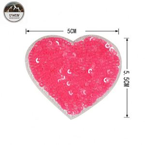 Hot Sale And High Quality heart Sequin Patches, Love Sequin Embroidery Patch#L10004