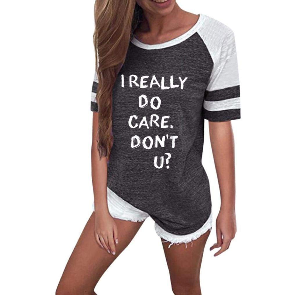 AutumnFall Women Fashion T Shirt Clothes ''I Really Do Care.Don't U ?'' Letter Print Stripe Blouse Tops (Size:S, Dark Gray)