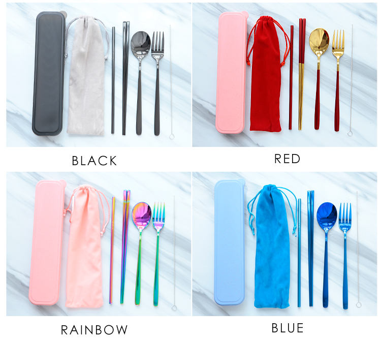 Hot Sale Portable Reisable Cutlery Set Spoon Fork Knife Promotion Gift Cutlery Set For Student Travel