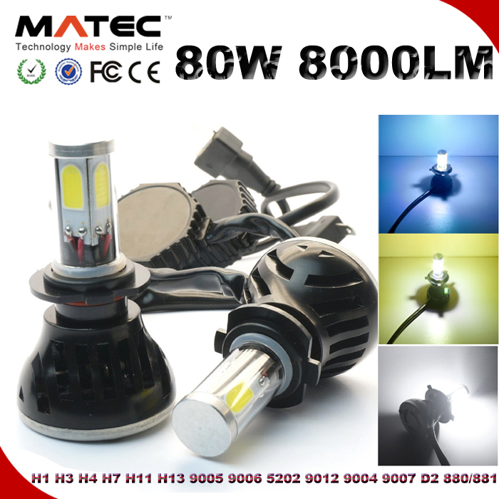 Automotive Motorcyle 80W 8000LM H4 H13 9004 9007 H7 9005 9006 H11 9012 H8 Auto LED Headlamp X3 LED Headlights
