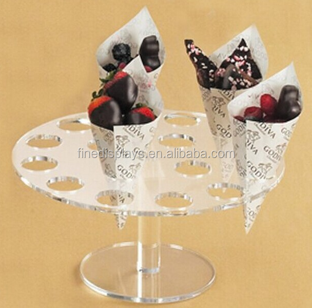 Simple design clear plastic acrylic ice cream cone display stand