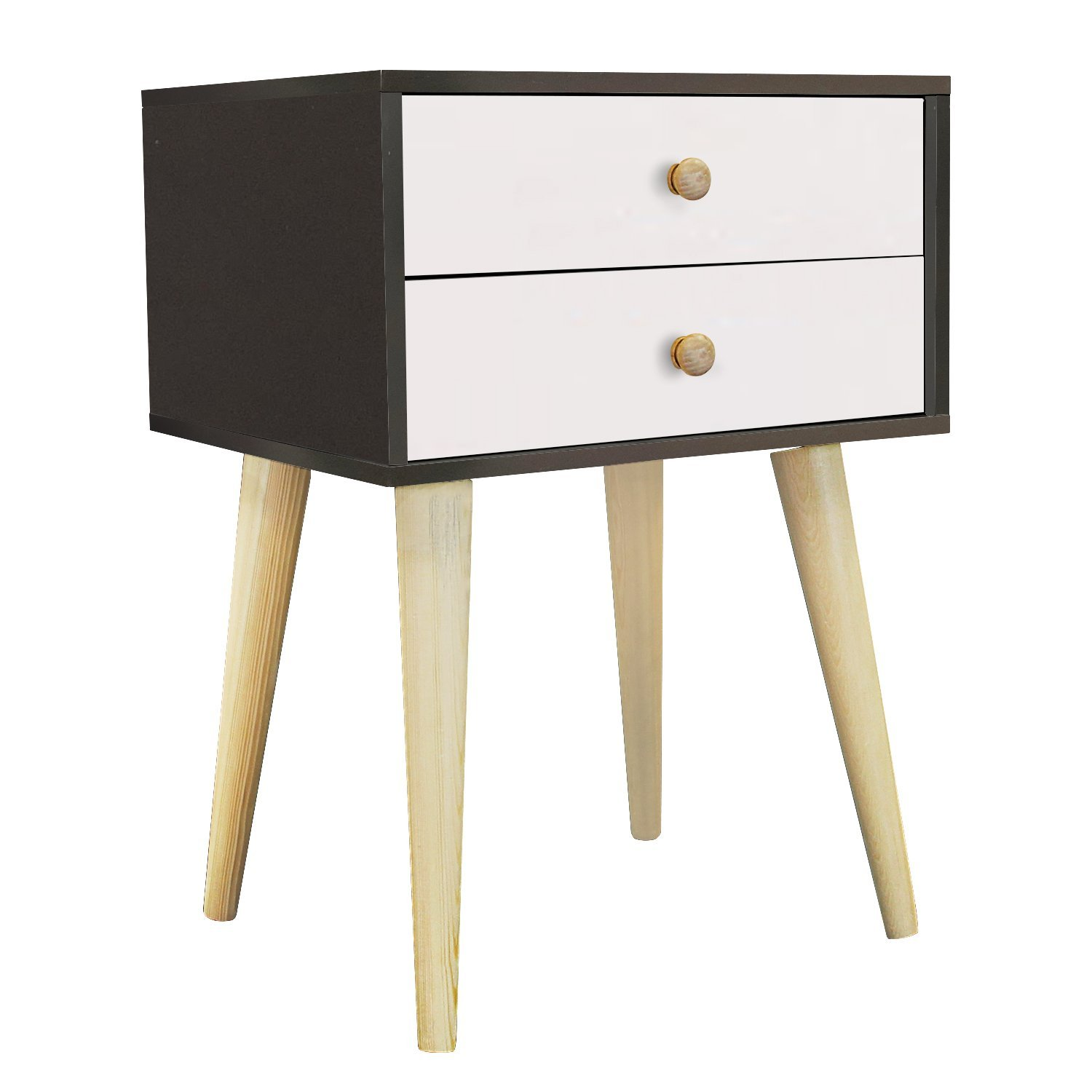Jerry & Maggie - Nightstand Modern Fashion 4 Thin Long Legs Space Station - 2 Tier Cubic Night Stand Storage Bedside Table with 2 Drawer Real Natural Paulownia Wood   Navy & White