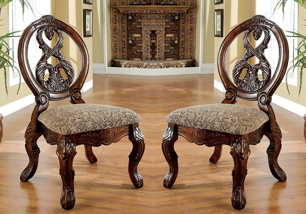 1PerfectChoice Tuscany Formal Set of 2 Dining Side Chairs Carved Round Back Antique Cherry Wood