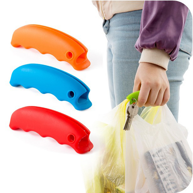 High Quality Soft Colorful Silicone Ping Bag Handle Holder Carrying Plastic Multiple