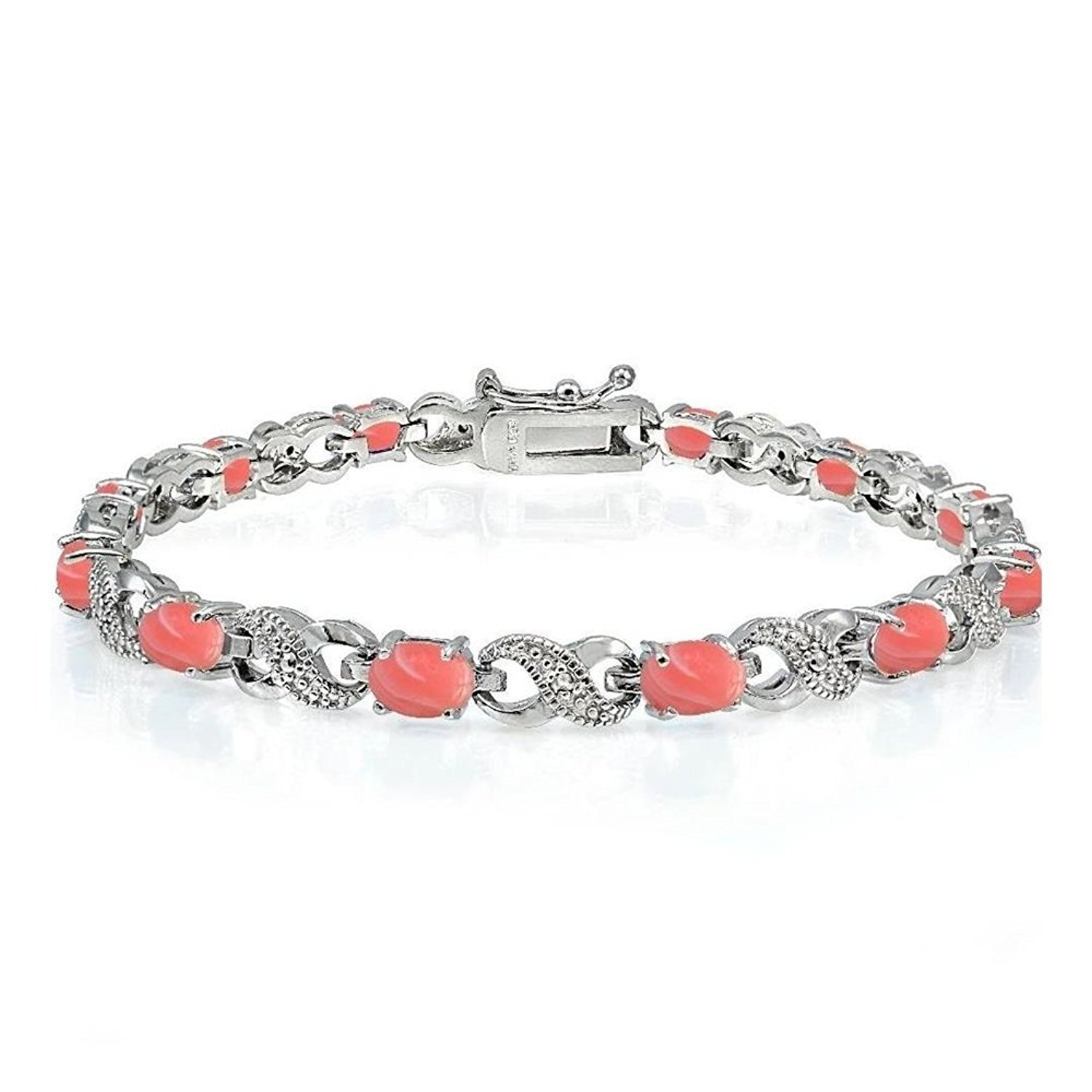 Silver Tone Brass Dyed Coral And Simulated Diamond Infinity Bracelet