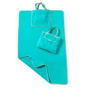 microfiber printed beach towel bag with pillow wholesale