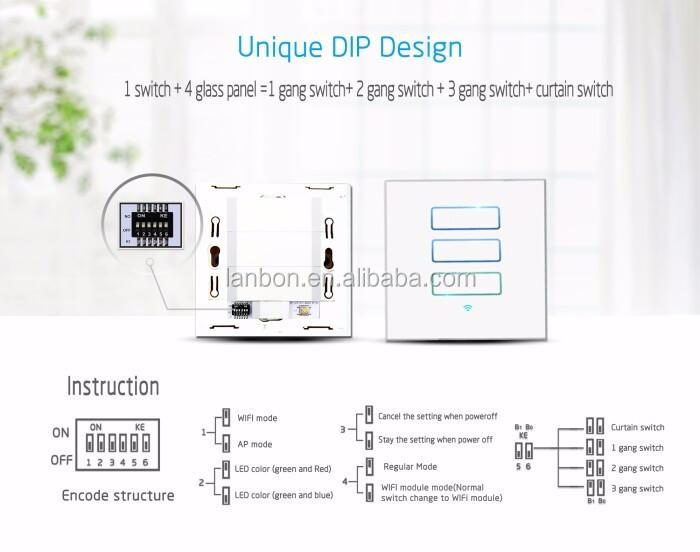 Shenzhen Lanbon 3 Gang 1 Way/2way Wifi Touch Light Wall Switch For ...