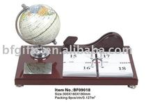 Wooden Calendar,globe,card holder,desktop set:BF09018-28