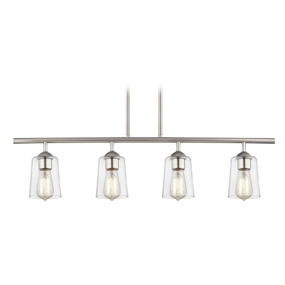 Industrial Linear Pendant Light with 4-Lights and Clear Glass in Satin Nickel Finish