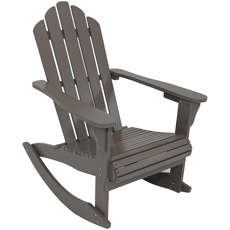 Sunnydaze Wood Adirondack Rocking Chair, Outdoor Patio Rocker, Gray