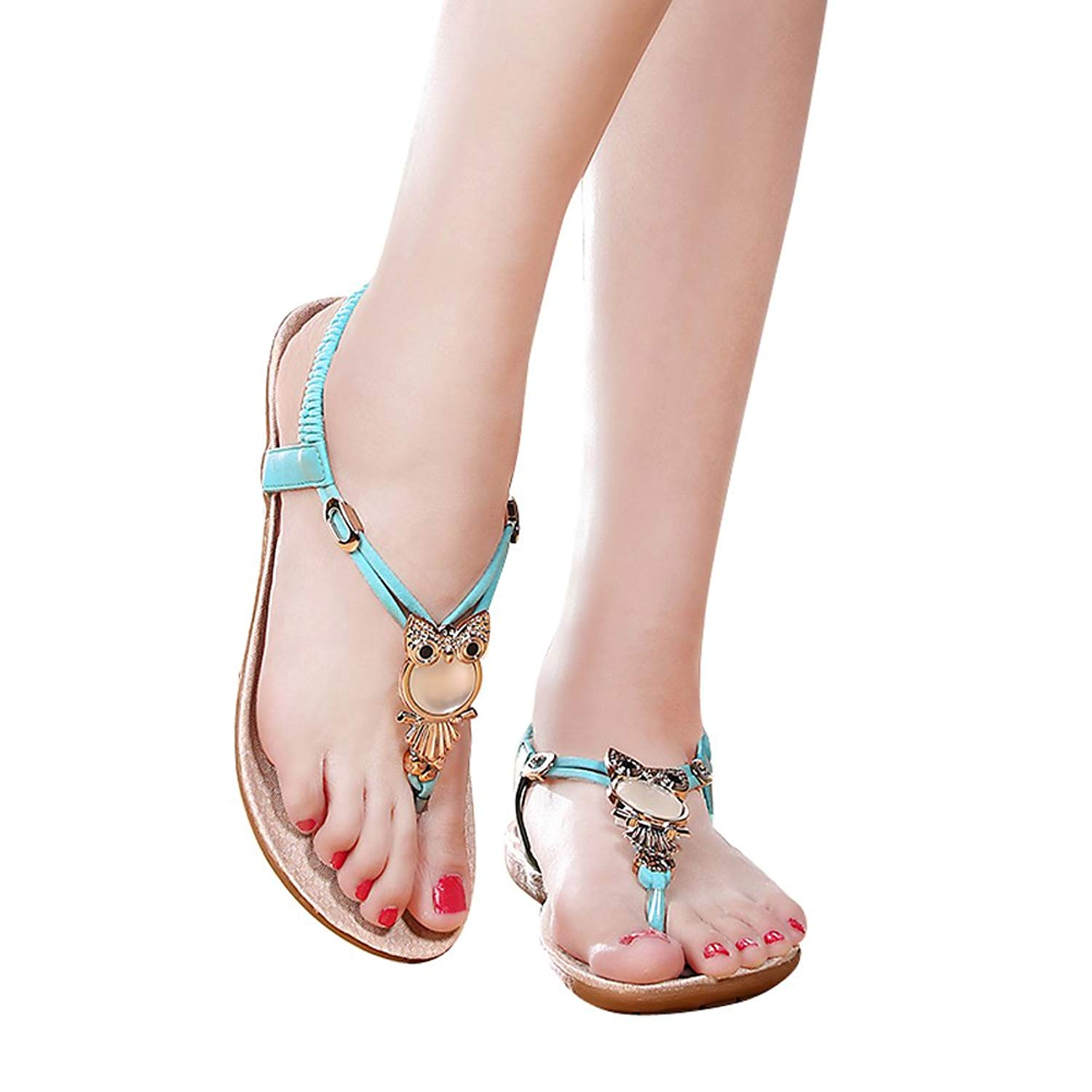 Get Quotations · Alicegana Women s Summer Owl Bohemian Beaded Walking Cheap Sandals  Size 6 7 8 9 Fashion Casual d181c461961
