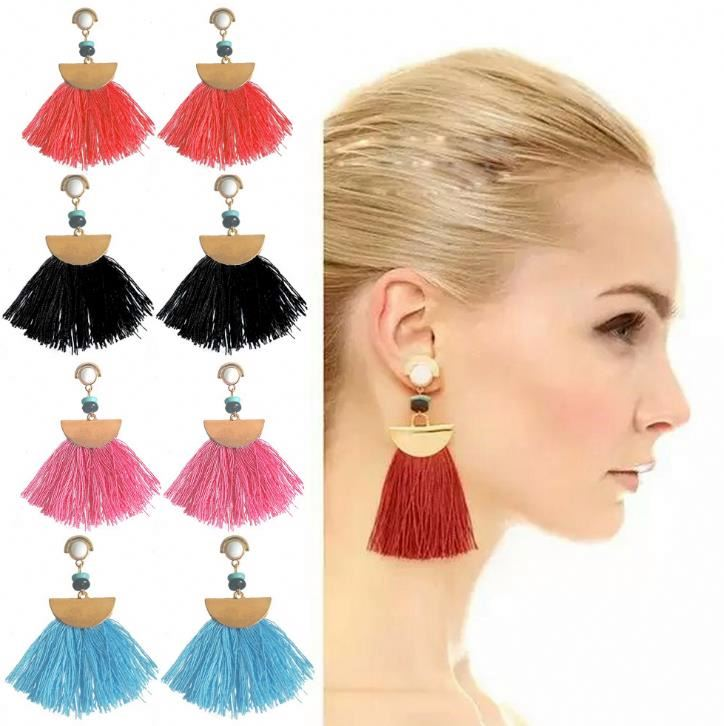 Newest Arrival tassel pendant Earrings Wholesale online women Semi-precious stones Jewelry Ear Cuff