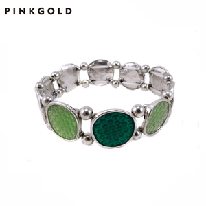 PINKGOLD Jewelry Stock Cheap Price Alloy Hematite with Color Stone Bracelet Wholesale Hand Chain Jewelry