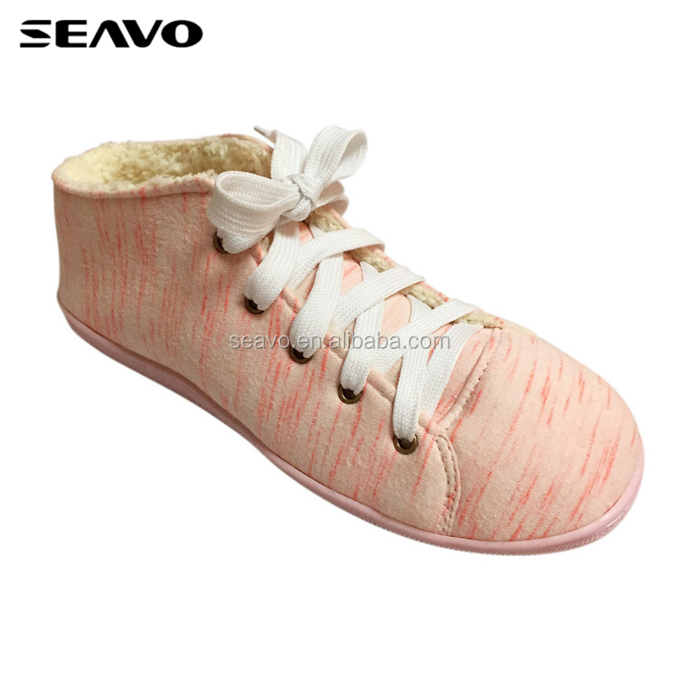 SEAVO AW18 latest desgin furry lining warm pink ladies casual house shoes
