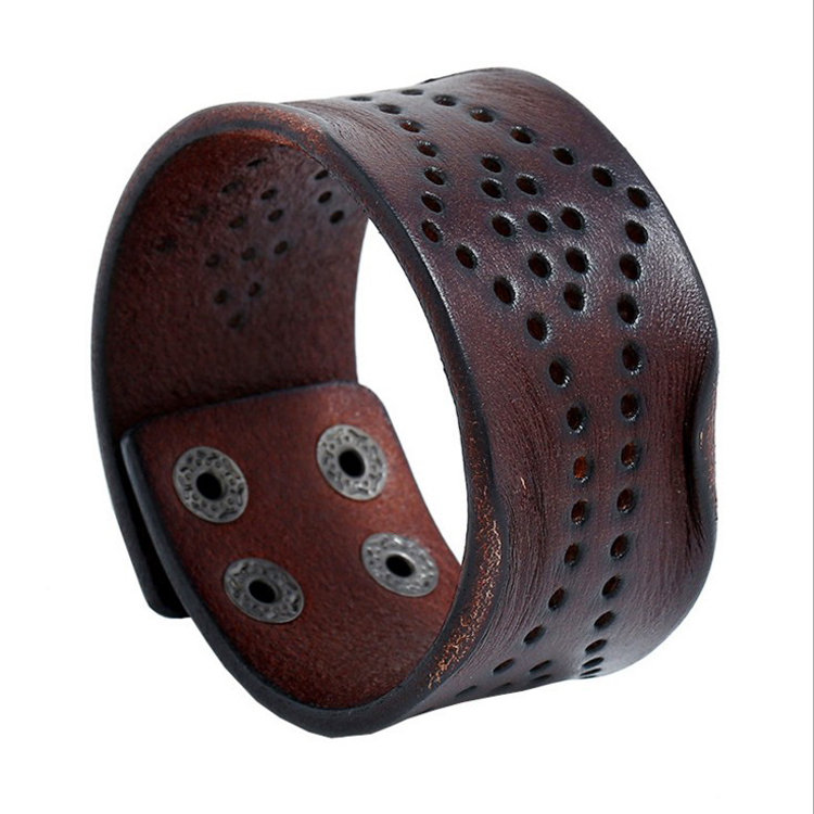 Europe Selling Hollow Out Leather Bracelet Blanks Punk Style Cowhide Chunky Bracelets 4 Press Button Clasp Wide Leather Bracelet