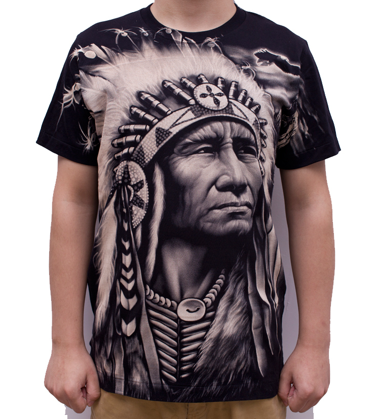 Fashion Full Printed Vintage Indian Chief T Shirts Cotton
