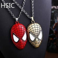 NEW 1 pcs Ship Superhero Spider-man The Amazing Spiderman Mask Pendant Necklace Fashion Necklace for Men Wholesale and Retail