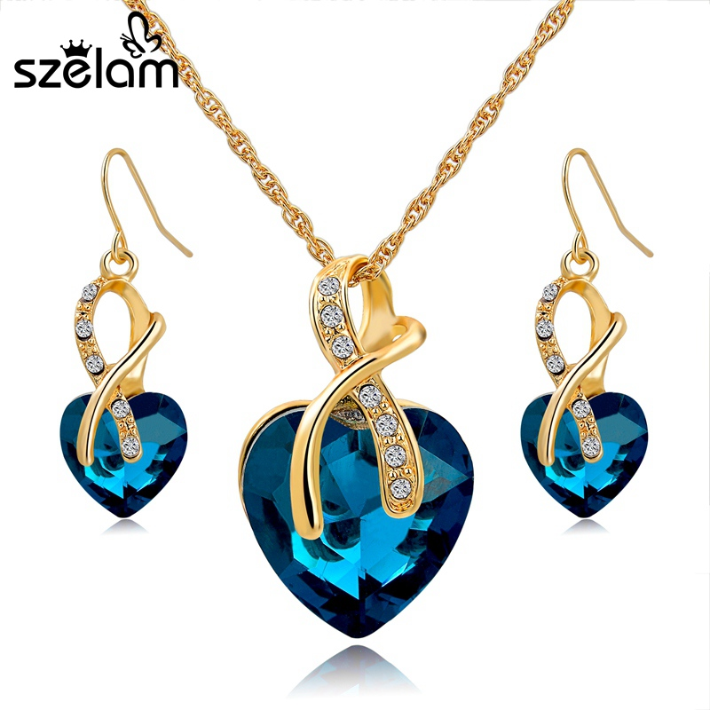 5e3d6080b9 Gift! Gold Plated Jewelry Sets For Women Crystal Heart Necklace ...
