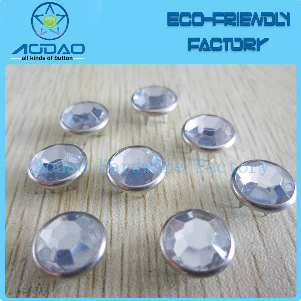 Acrylic Stones Prong Ring Snap Button For Clothes Push Prong Button