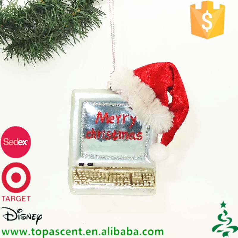 China supplier direct sale hand blown glass computer in red xmas hat ornaments