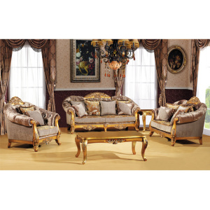 S1211 Foshan Shunde Furniture Sofa Neo classical sofa Latest design hand carved wood frame fabric sofa in gold color