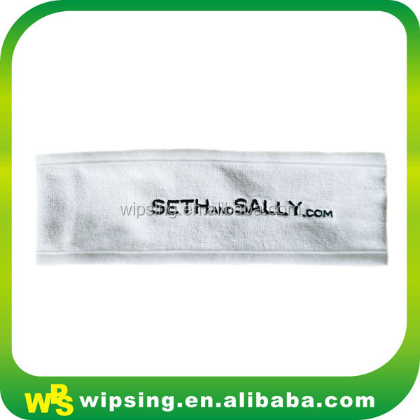 Luxury White Toweling Hair Band With Embroidery Company Name