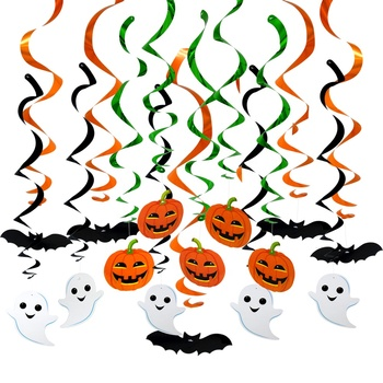 Halloween Hanging Decoration, New Design for Party Supplies and Decoration, ghost pumpkin bats