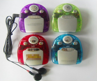 JY-2008, New Design Logo Printed Fashionable Promotional FM Mini Radio, Portable Colorful Radios with earphone