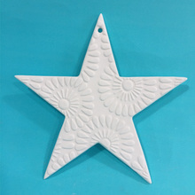 Custom Christmas Decorations Wholesale White Ceramic Star Ornament Sublimation