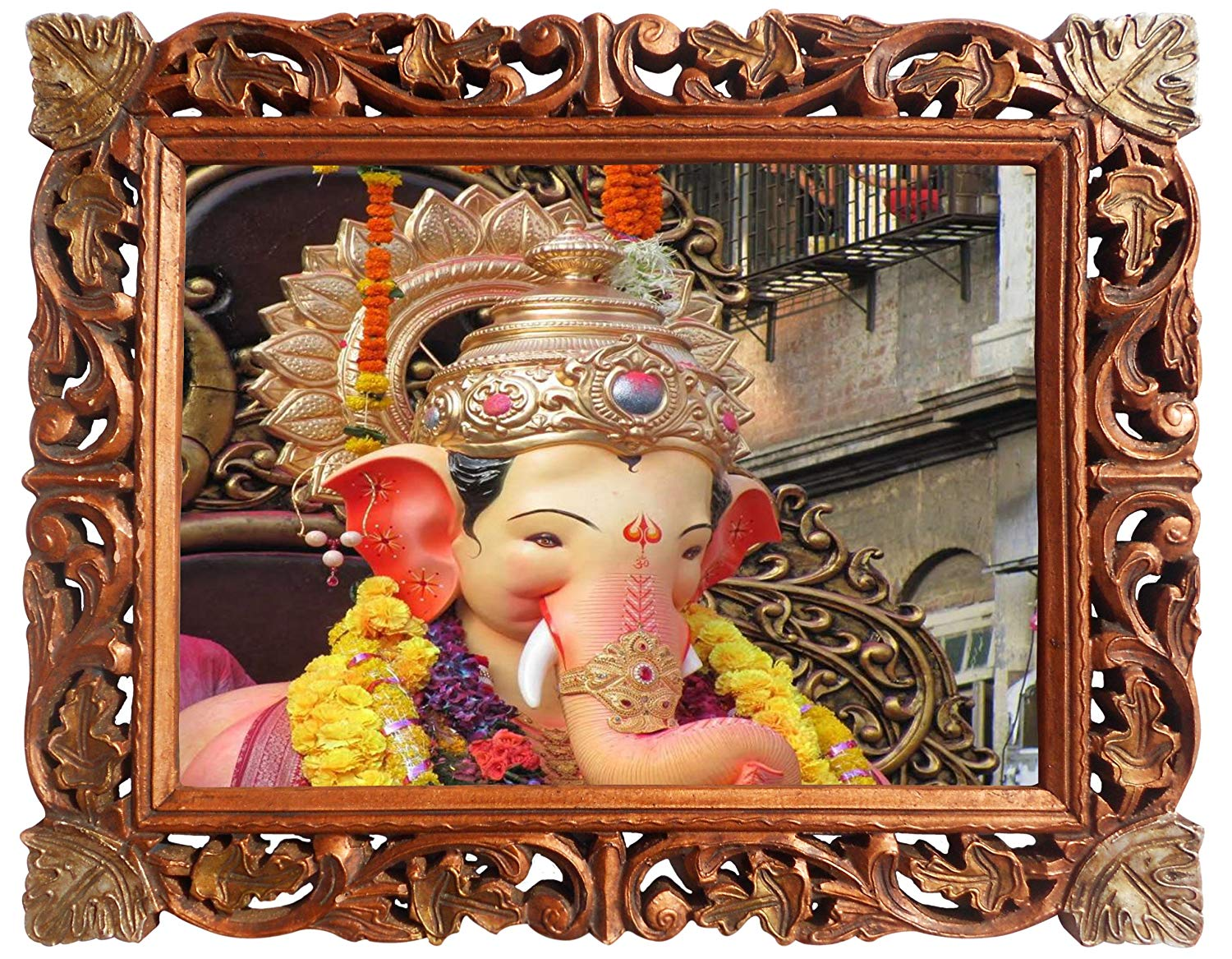 Lord Ganpati Ganesha Poster Frame in Handcrafted Wood Craft Frame, Indian Handicrafts