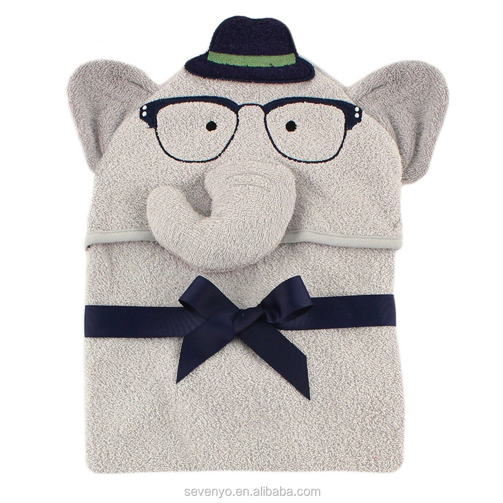Baby Animal Face Hooded Towel for Boys, Smart Elephant with Glasses HDT-085 China manufacturer wholesale