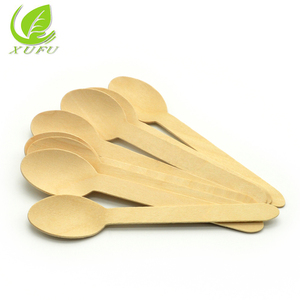 110mm wooden disposable spoons biodegradable ice cream spoon