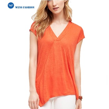 2017 Summer Women V Neck Tunic Tops Short Sleeve Tunics Cotton Women ...