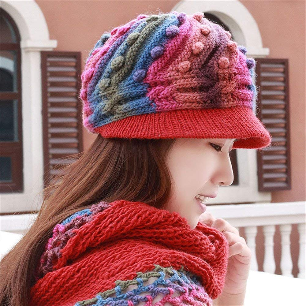 A woman's hat and a winter hat hand knitting cap mother warm autumn ear hat for 54cm-60cm elastic cap,Blue powder