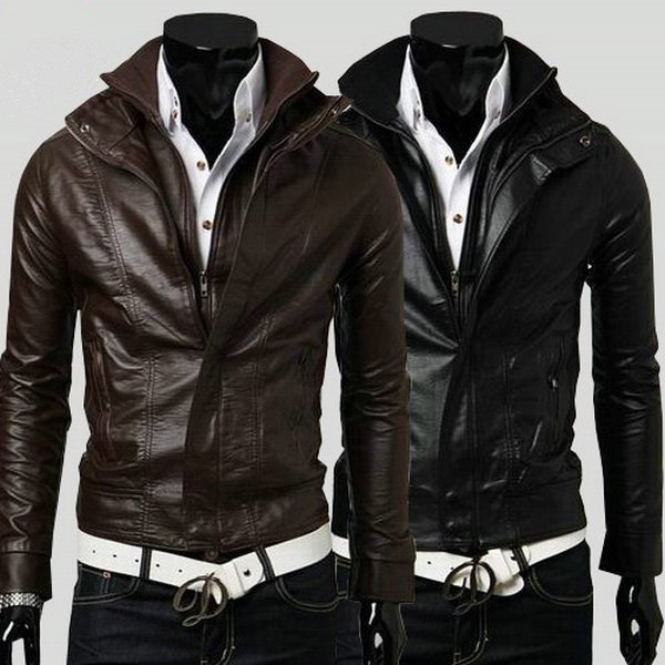 korean slim fit men leather jacket price View leather jacket