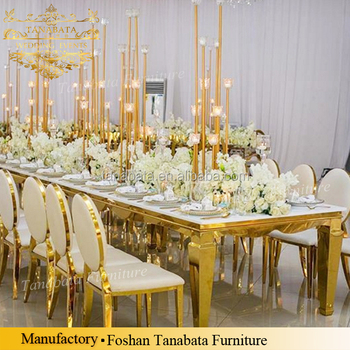 Rectangle Shape Mirror Wedding Gold Frame Glass Top Dining Table