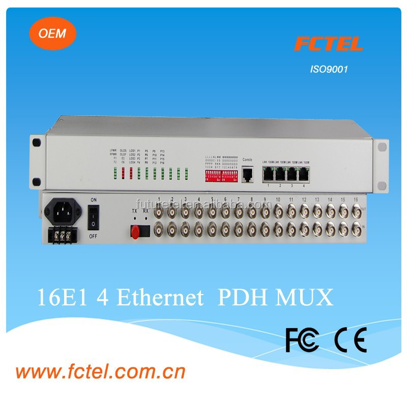 single mode pair fiber 16E1*G.703+100Mbps ethernet pdh optical fiber transmitter and receiver mux