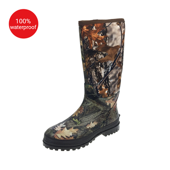 Custom Made Wholesale Fashionable Men Camo Neoprene Rubber Waterproof Hunting Boots with Camouflage Design