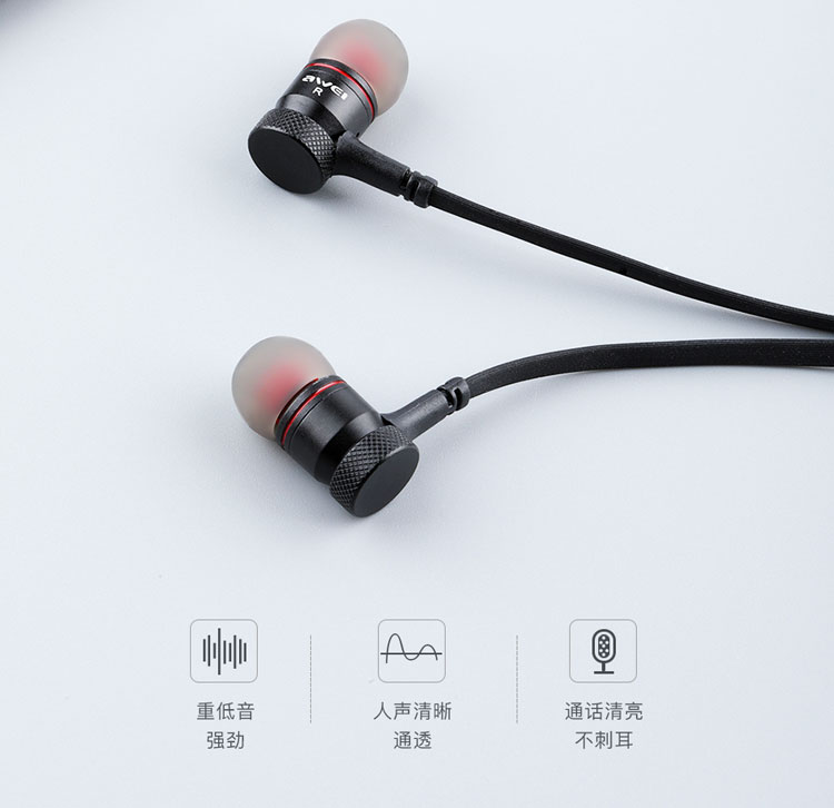 Awei New Arrival fone de ouvido IPX4 Dual Speaker wireless neckband