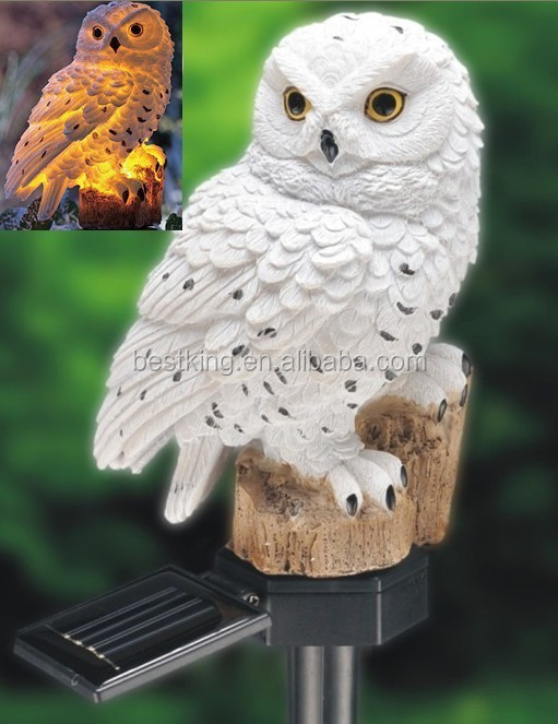 Nice Ce Rohs Solar White Owl Outdoor Stake Owl Led Stake Light Resin Owl Solar  Stake Light