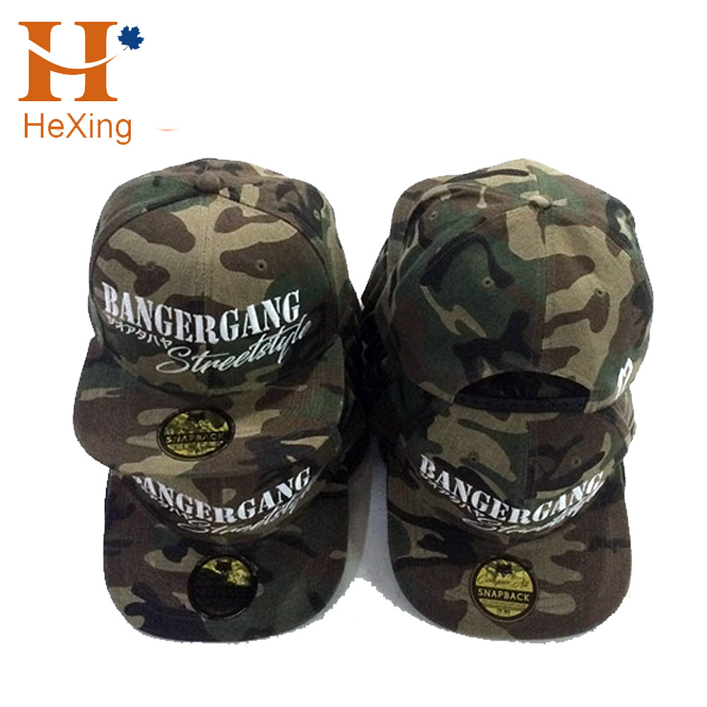 Shenzhen Cap Manufacturer Custom Camo 6 panel snapback cap with 3D embroidery