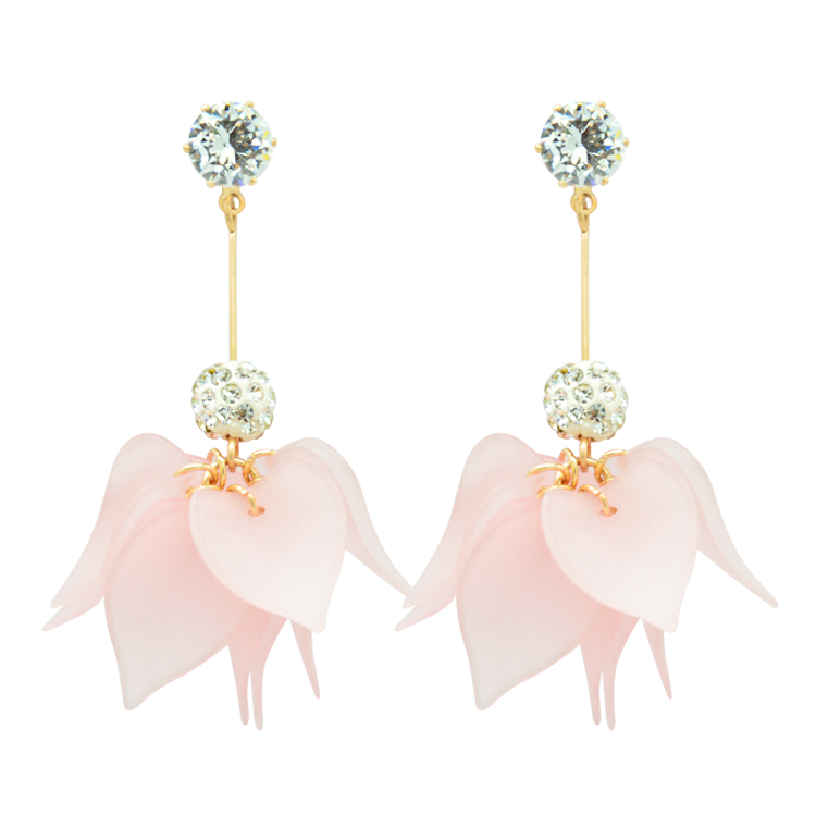 Korea Style <strong>Gold</strong> Plated Crystal resin <strong>flower</strong> <strong>earrings</strong>