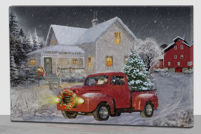 Wholesale Winter Snow Village House Canvas Painting With Led Light ...