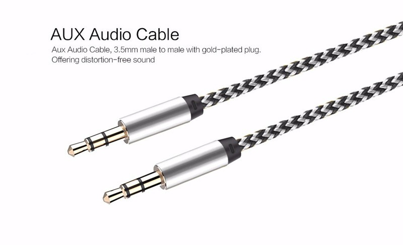 1m Nylon Aux Cable 3 5mm To 3 5 Mm Male To Male Jack Auto