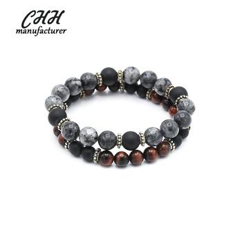 Hot Agate Stone Beaded Charm Bracelet Men