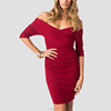 Crossover bust off shoulder half sleeve bodycon dresses