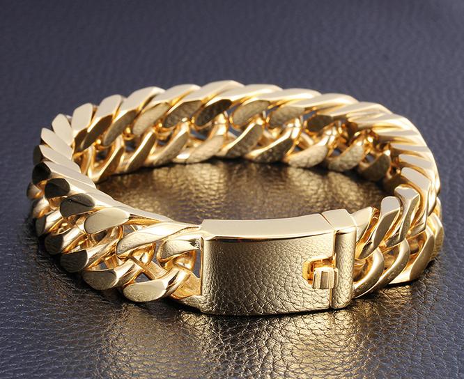 New Gold Chain Design For Men 316l Stainless Steel Bracelet 18k Gold