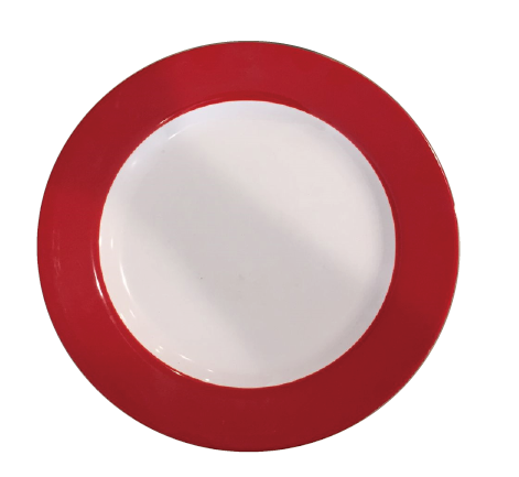 White Melamine Plate With Red Trim