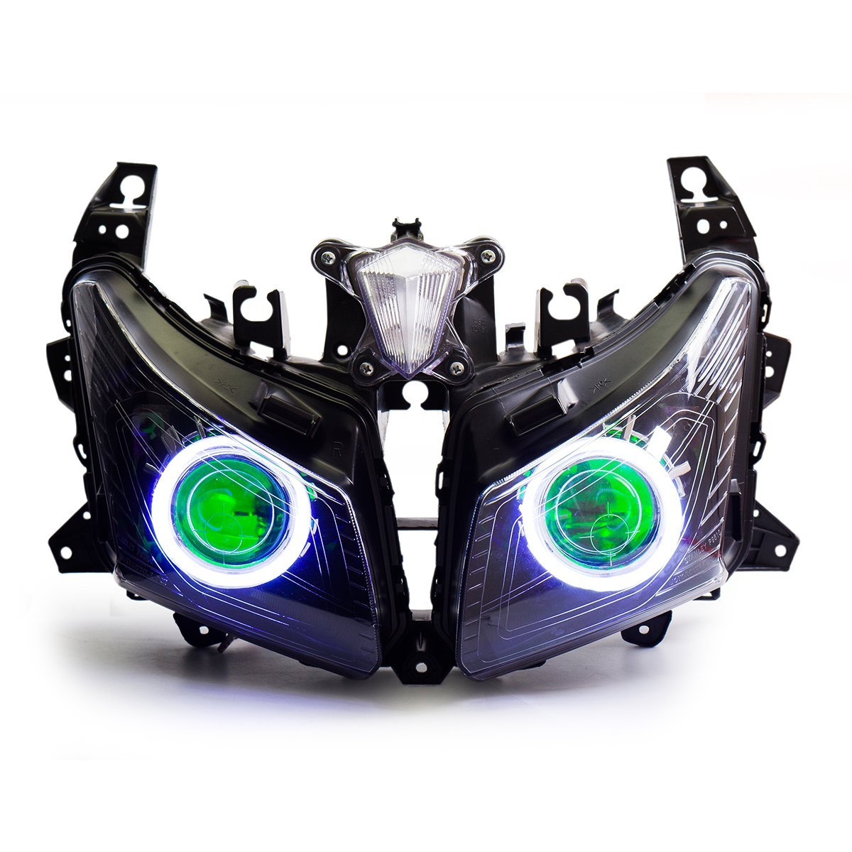 KT LED Angel Eye Headlight Assembly for Yamaha T-Max 530 2012-2014 Green Demon Eye